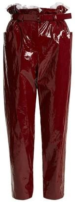 Isa Arfen Paperbag-waist Straight-leg Cropped Trousers - Womens - Dark Red