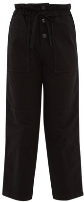 Sea Scout Paperbag Waist Cotton Blend Trousers - Womens - Black