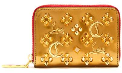 Christian Louboutin Panettone Embellished Zip Around Leather Wallet - Womens - Gold