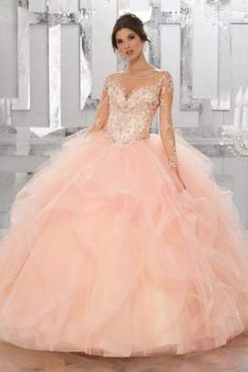 Morilee Beaded Embroidery Flounced Tulle Ball Gown w/ Matching Stole