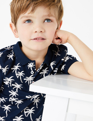 Marks and Spencer Pure Cotton Tropical Print Polo Shirt (2-7 Yrs)