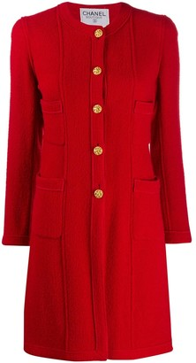 Chanel Pre Owned 1990s Collarless Relaxed-Fit Coat