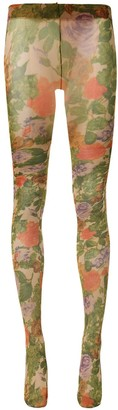 Richard Quinn Floral-Print Sheer Tights