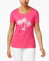 Karen Scott Petite Cotton Palm Tree Graphic T-Shirt, Only at Macy's