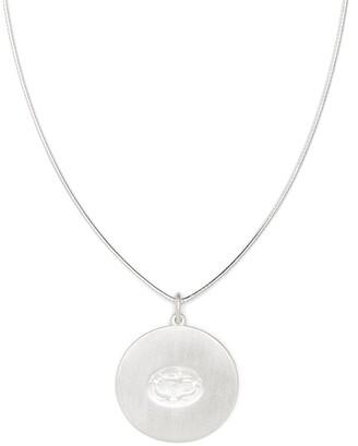 VICTORIA STRIGINI Capricorn And Dolphins Disc Silver Necklace
