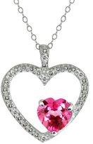 Gem Stone King 0.94 Ct Heart Shape Pink Mystic Topaz and Diamond 14k White Gold Pendant