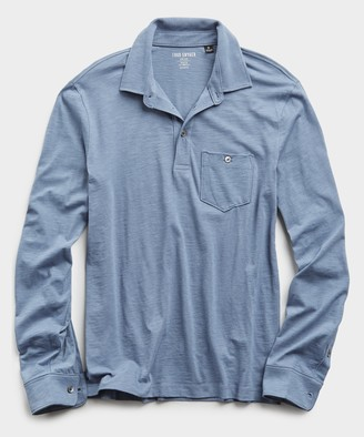 Todd Snyder Made In L.A. Slub Jersey Long Sleeve Polo in Air Force Blue