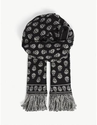 Alexander McQueen Skull-print wool and silk-blend scarf 200cm x 70cm
