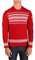 Moncler Men's Virgin Wool Holiday Crewneck Sweater Red.