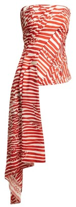 Halpern Striped Asymmetric-draped Bustier Top - Red White
