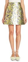DELPOZO Metallic Floral A-Line Mini Skirt