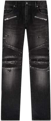 Balmain Ribbed Detail Slim Jeans
