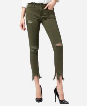 VERVET Mid Rise Uneven Broken Hem Side Zipper Skinny Ankle Jeans