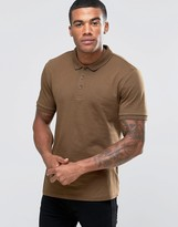 Asos Jersey Polo Shirt In Brown