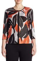 Stizzoli, Plus Size Leaf Printed Knitted Jacket