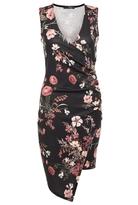 Quiz Black Floral Print Cross Over Asymetric Hem Dress