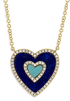 Moon & Meadow 14K Yellow Gold Turquoise, Lapis & Diamond Heart Pendant Necklace, 18 - 100% Exclusive