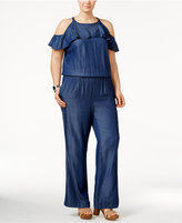 INC International Concepts Plus Size Ruffled Cold-Shoulder Jumpsuit, Only at Macy's