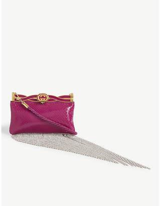 Gucci Broadway crystal trim leather clutch