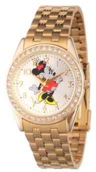 EWatchFactory Disney Minnie Mouse Women's Gold Alloy Glitz Watch