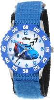 Disney Kids' W001006 Cars Stainless Steel Time Teacher Blue Bezel Blue Nylon Strap Watch