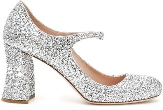 Miu Miu Glitter Mary Jane Pumps