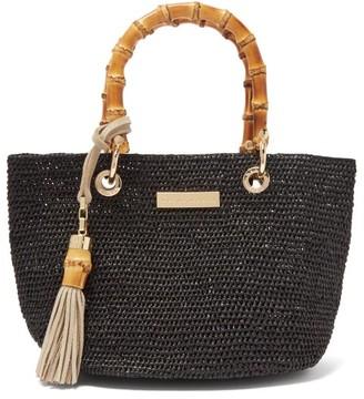 Heidi Klein Savannah Bay Mini Raffia Tote Bag - Black
