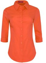 Iron Puppy Womens 3/4 Sleeve Skinny Button Down Collared Shirts With Stretch