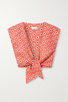 Miguelina Marcy Cropped Tie-front Floral-print Linen Top