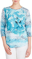 Allison Daley Petites Crew-Neck Floral Burst Print 3/4 Sleeve Knit Top