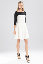 Josie Natori Double Knit Jersey 34 Sleeve Color Block Dress