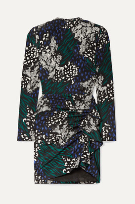 Veronica Beard Louella Ruffled Animal-print Stretch-silk Crepe De Chine Mini Dress - Black