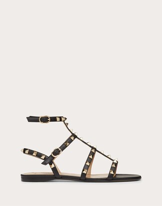 Valentino Garavani Rockstud Ankle Strap Flat Sandal In Calfskin Leather Women Black Calfskin 100% 38