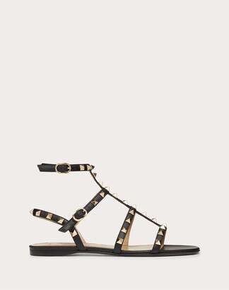 Valentino Rockstud Calfskin Ankle Strap Flat Sandal Women Black Calfskin 100% 34.5