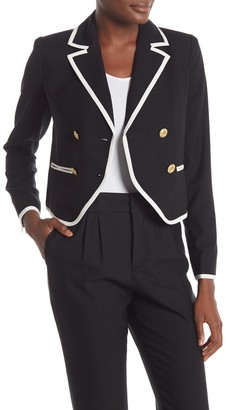 Frame Contrast Trim Double Breasted Blazer