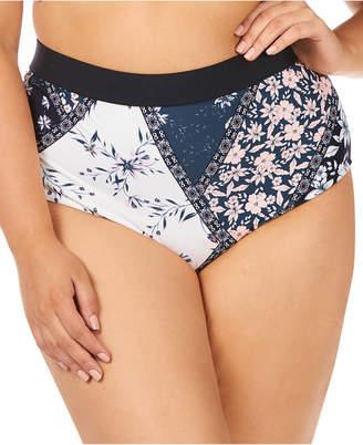 Raisins Curve Trendy Plus Size Las Brisas Printed Island High-Waist Tummy Control Bikini Bottoms Women Swimsuit