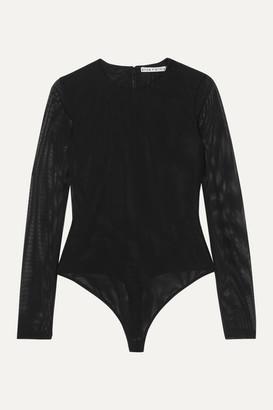 Alice + Olivia Alice Olivia - Nara Stretch-mesh Thong Bodysuit - Black