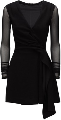 Diesel D-Devi Draped Crepe & Mesh Mini Dress