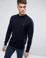 Fred Perry Texture Knit Sweater Checkerboard in Navy