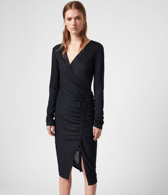 AllSaints Rina Glitz Wrap Dress