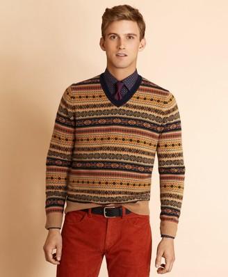 Brooks Brothers Wool-Blend V-Neck Fair Isle Sweater