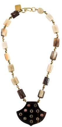 Ashley Pittman Horn & Tourmaline Shield Pendant Necklace
