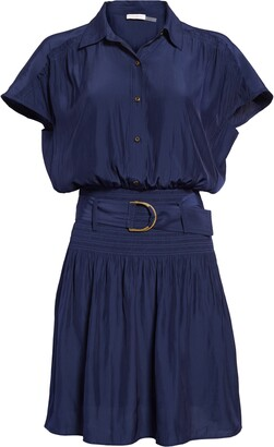 Ramy Brook Stacy Short Sleeve Hammered Satin Shirtdress