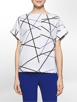 Calvin Klein Platinum Sculptural Linear Print Top
