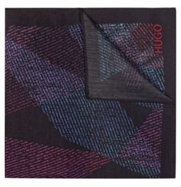 HUGO BOSS Geometric Print Pocket Square With Logo Detail - Black