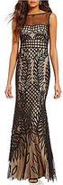 JS Collections Crew Neck V-Back Sleeveless Illusion Soutache Mermaid Gown
