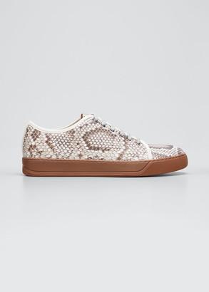 Lanvin Men's Python-Print Low-Top Sneakers