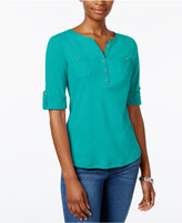 Karen Scott Henley Roll-Tab Top, Only at Macy's