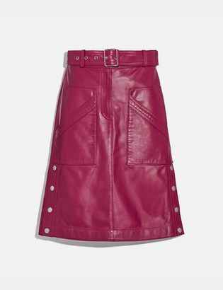 Coach Belted Leather Skirt