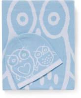 Bubba Blue Owl Cotton Knit Blanket & Beanie